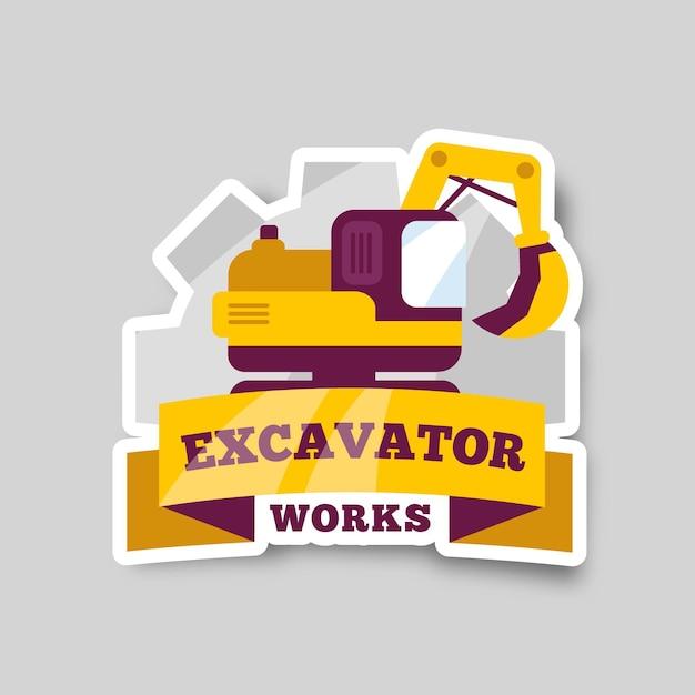 Graafmachine logo bouwconcept Gratis Vector