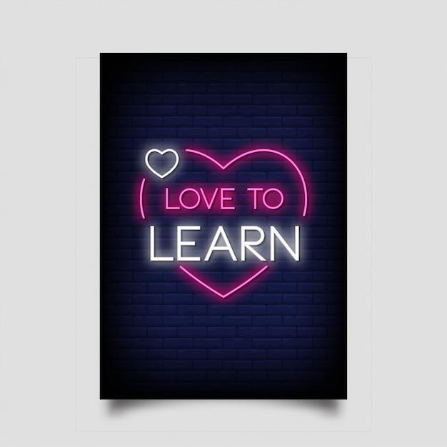 Graag leren voor poster in neonstijl Premium Vector