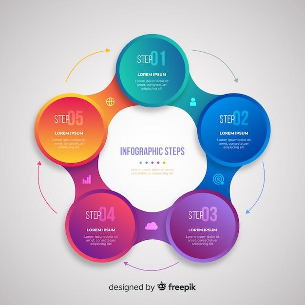 Gradatie realistische kleurrijke stap infographics Gratis Vector