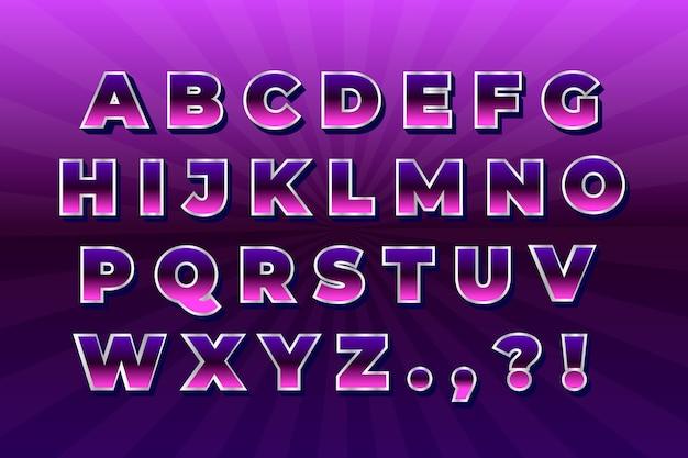 Gradiënt 3d retro alfabet Gratis Vector