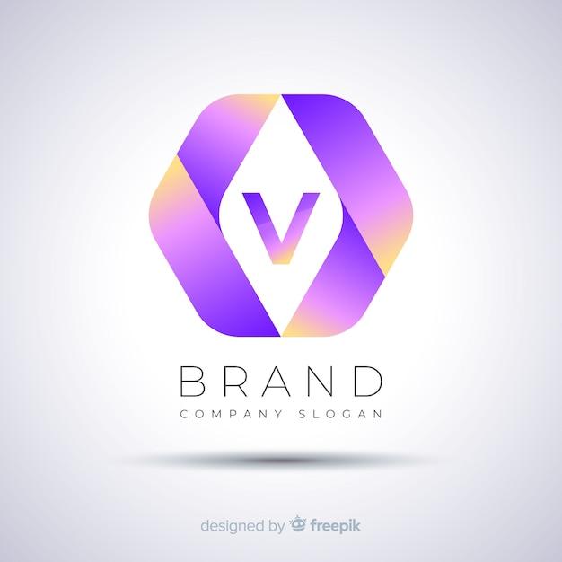 Gradient abstract template zeshoekig logo Gratis Vector