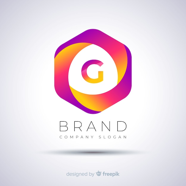 Gradient abstract zeshoekig logo sjabloon Gratis Vector