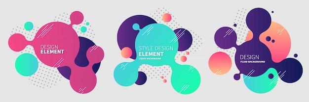 Gradiënt abstracte banners met vloeiende vloeibare vormen Premium Vector