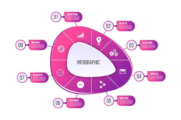 Gradiënt abstracte vorm infographic Gratis Vector