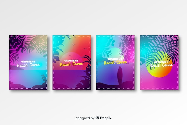 Gradient beach cover-collectie Gratis Vector