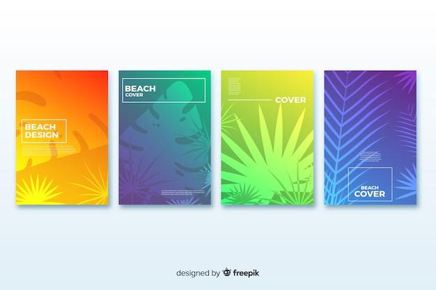 Gradient beach cover-collectie Gratis Vector