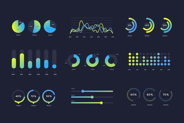 Gradiënt blauwe en groene infographic elementen Premium Vector