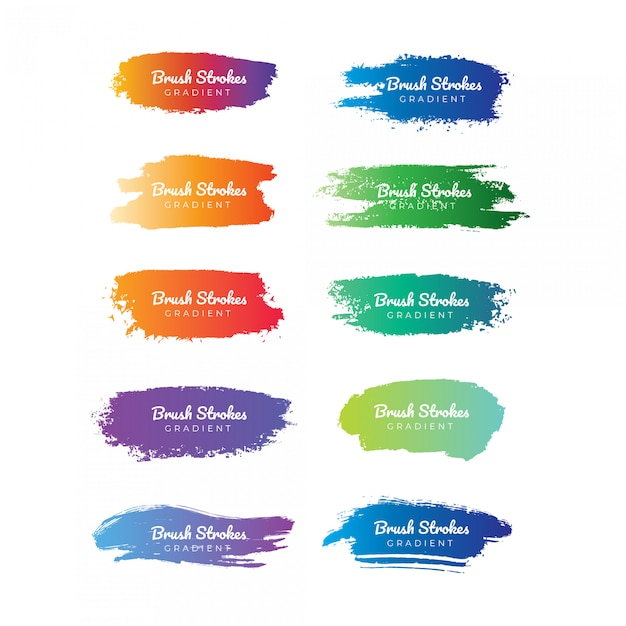 Gradient brush stroke collection Premium Vector