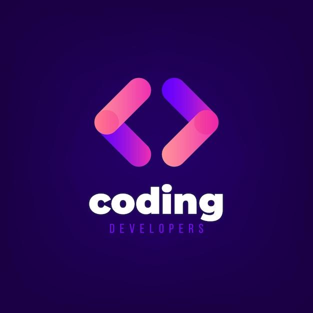 Gradient codering logo sjabloon Gratis Vector