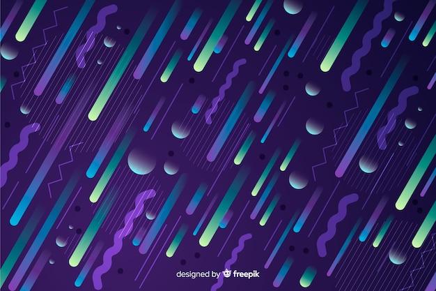 Gradiënt dynamische achtergrond met diagonale elementen Gratis Vector