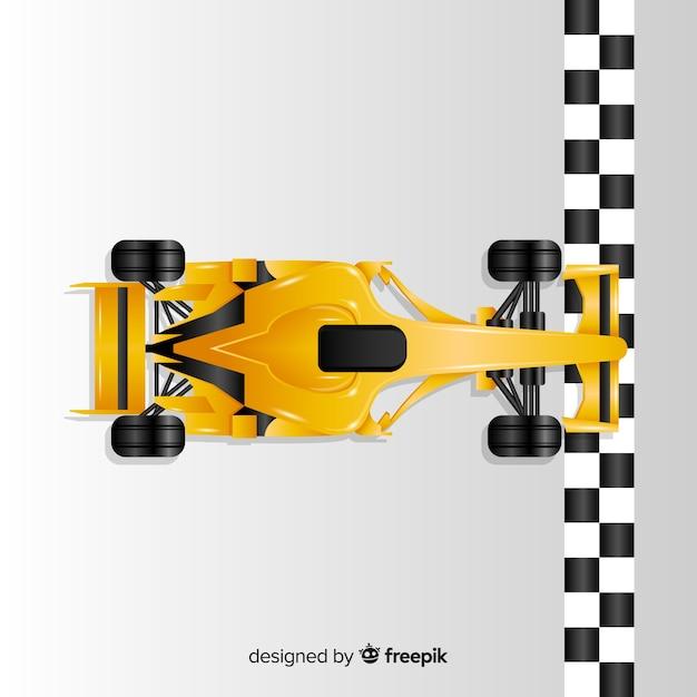 Gradiënt gele f1 raceauto kruist finishlijn Gratis Vector