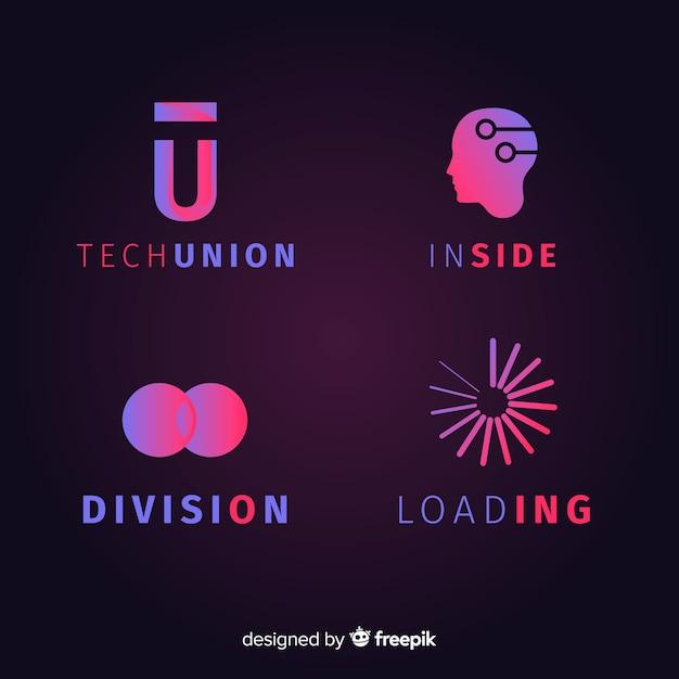 Gradient geometrische technologische logotype collectie Gratis Vector