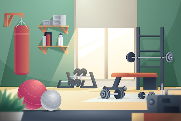 Gradient homegym met machines Gratis Vector