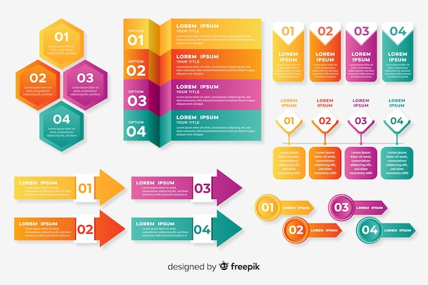 Gradient infographic element collectie Premium Vector