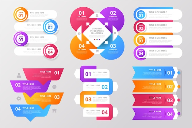 Gradient infographic element collectie Gratis Vector