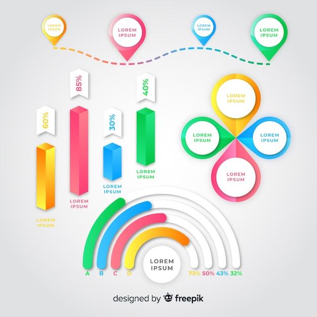 Gradiënt infographic element pack Gratis Vector