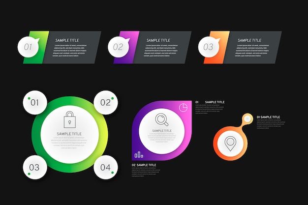 Gradiënt infographic elementen op zwarte achtergrond met tekstvakken Gratis Vector