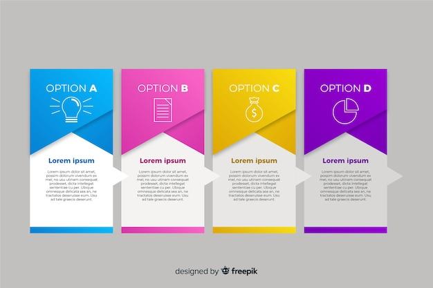 Gradiënt infographic pagina's met pictogrammen Gratis Vector