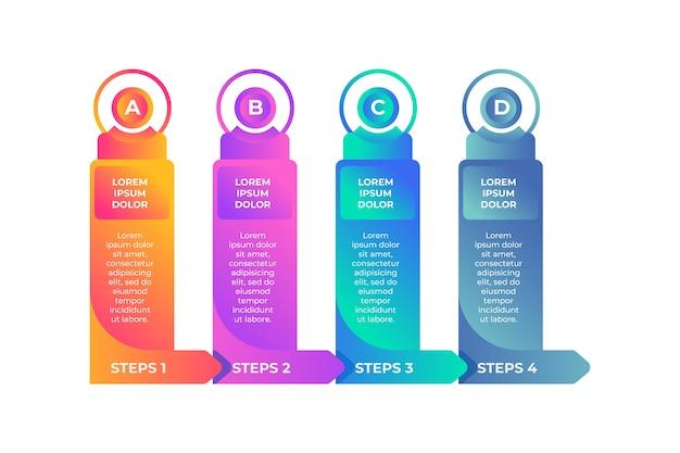Gradiënt infographic sjabloonontwerp met opties en stappen Gratis Vector