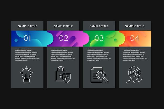 Gradiënt infographic stappen op zwarte achtergrond met tekstvakken Gratis Vector