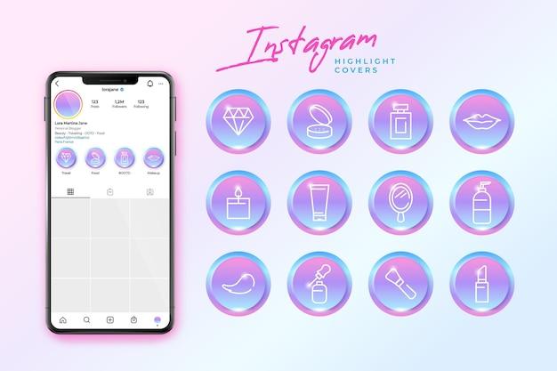 Gradient instagram-hoogtepunten Premium Vector