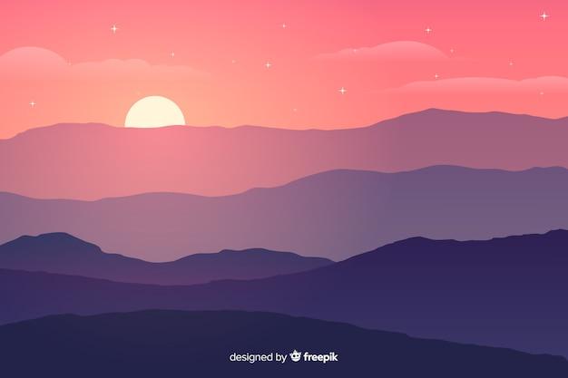 Gradient kleuren bergen met felle zon Gratis Vector
