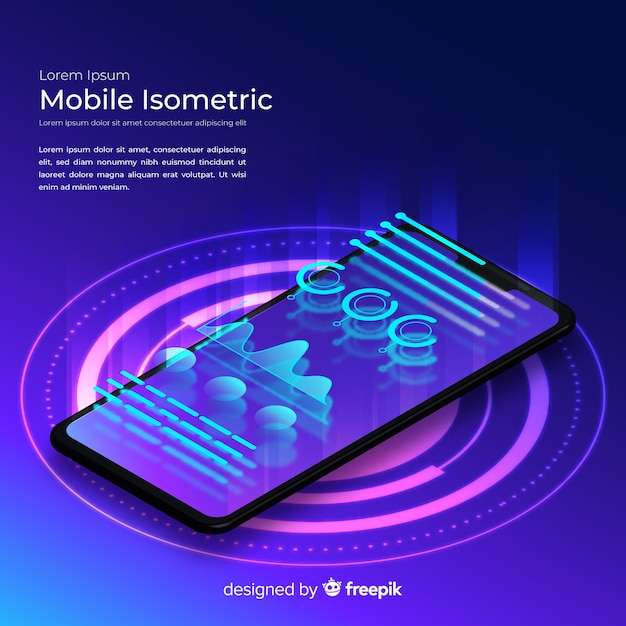 Gradient smartphone isometrische technische achtergrond Gratis Vector
