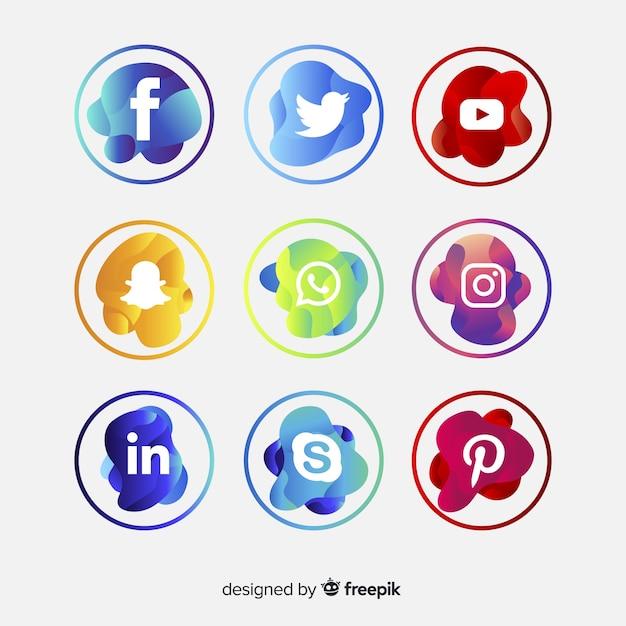 Gradient social media logo collectio Gratis Vector