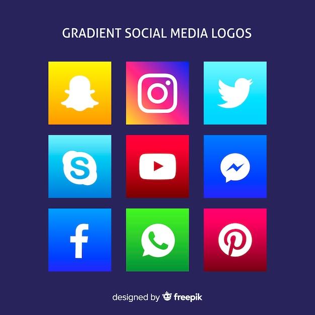Gradient social media logo's Gratis Vector