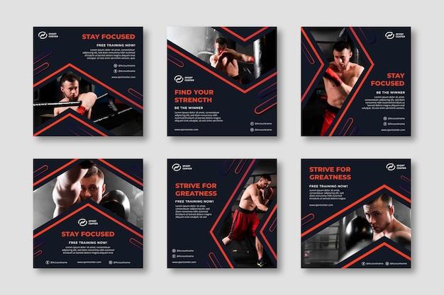 Gradient sport instagram posts-collectie met mannelijke bokser Gratis Vector