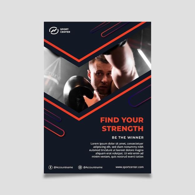Gradient sport verticale poster met mannelijke bokser Gratis Vector