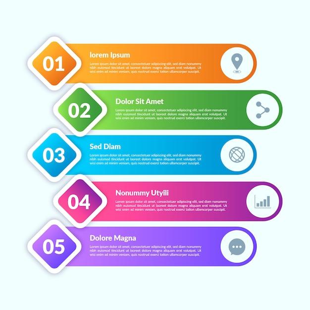 Gradient stijl infographic elementen Gratis Vector