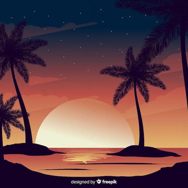 Gradiënt strand zonsondergang landschap Gratis Vector