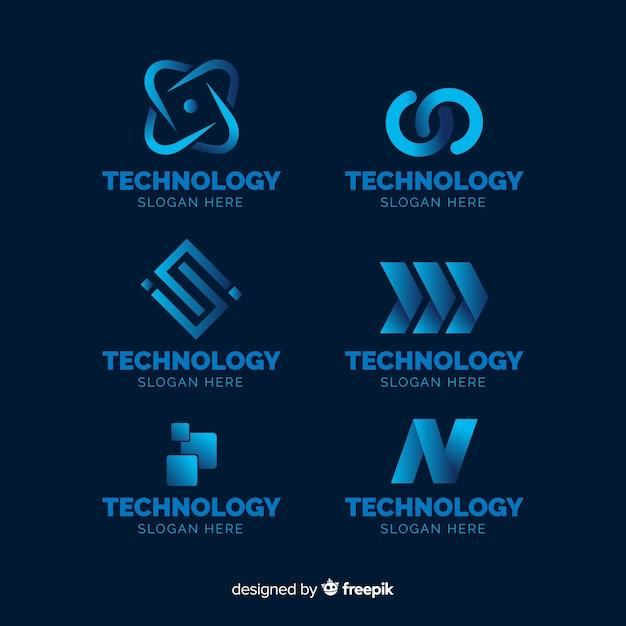 Gradient technologie logo sjabloonverzameling Gratis Vector
