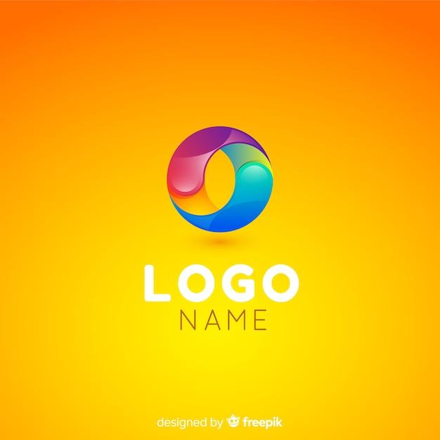 Gradient technology logo template voor bedrijven Gratis Vector