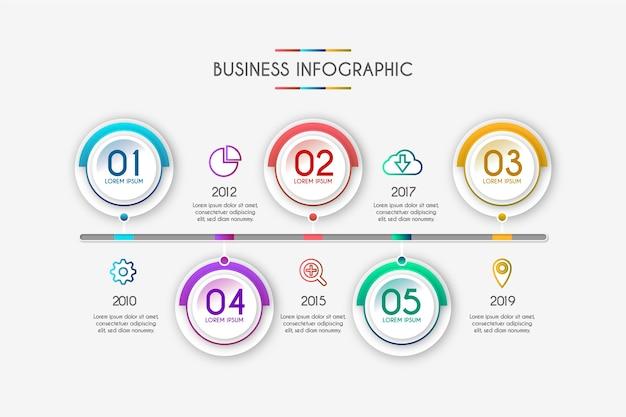 Gradient tijdlijn infographic sjabloon Gratis Vector