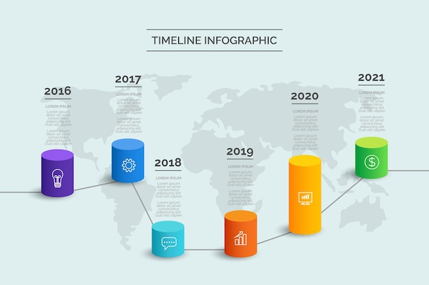 Gradient tijdlijn infographic Gratis Vector