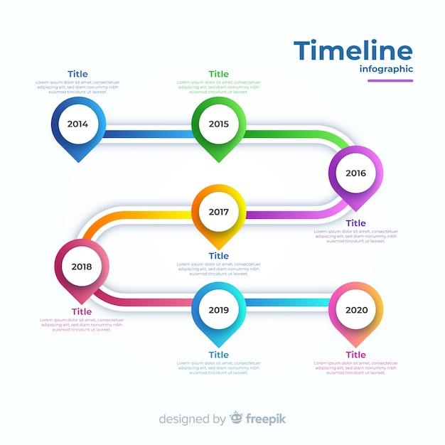 Gradient tijdlijn zakelijke infographic Gratis Vector