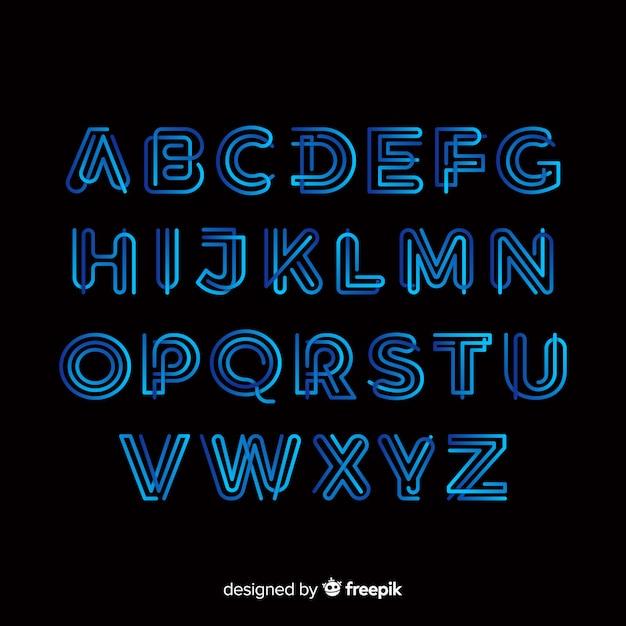 Gradiënt typografie alfabet sjabloon Gratis Vector