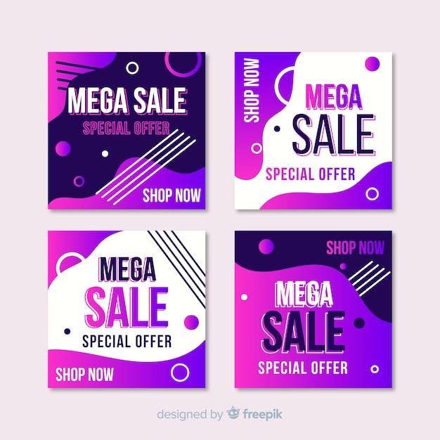 Gradient verkoop instagram post collectie Gratis Vector