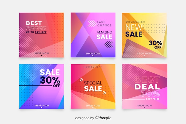 Gradient verkoop instagram post collectie Gratis Vector
