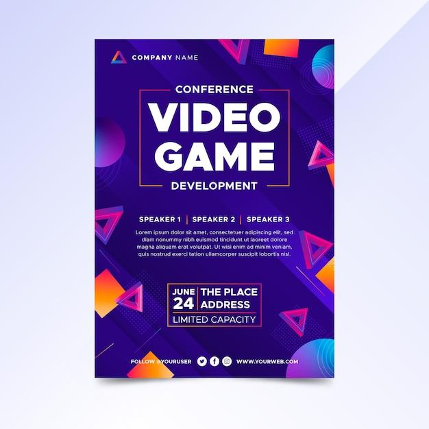 Gradient video game poster sjabloon Gratis Vector