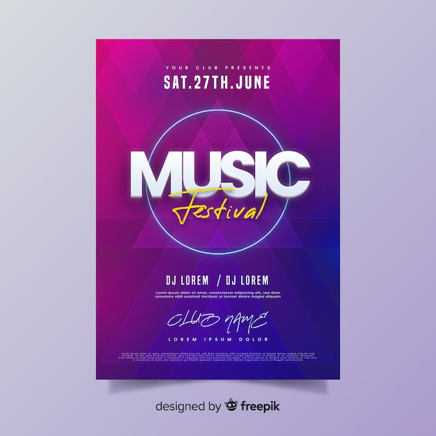 Gradiënt zomer muziekfestival poster Gratis Vector