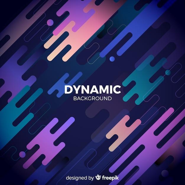 Gradiëntachtergrond met dynamische vormen Gratis Vector