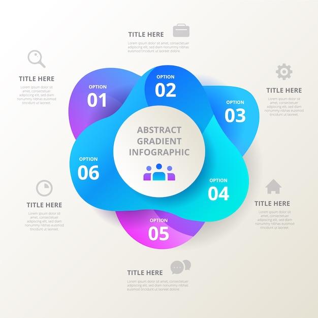 Gradiëntvorm infographic met tekst en pictogrammen Gratis Vector