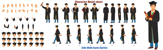 Graduate student character model sheet met walk cycle animation sequence Premium Vector