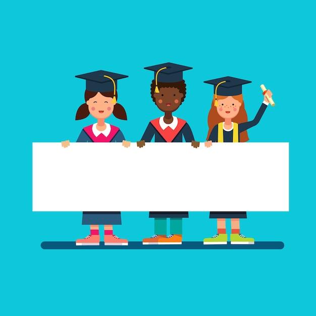 Graduate studenten meisjes en jongen in mortar hoeden Gratis Vector