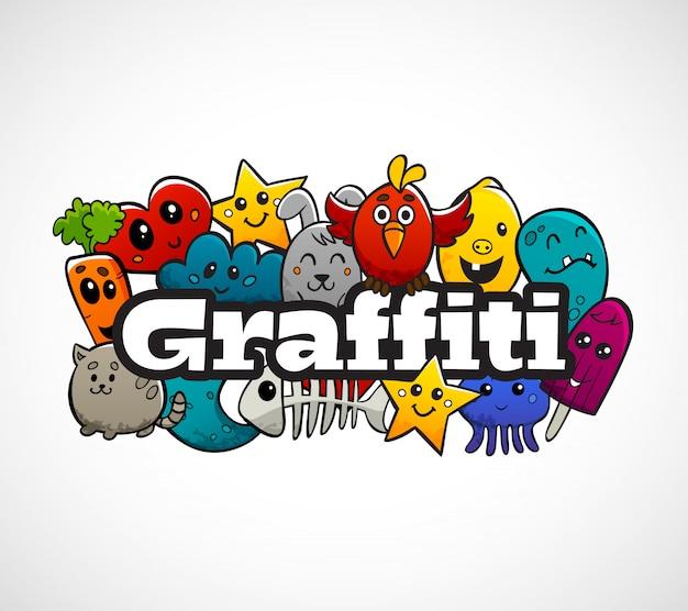 Graffiti characters samenstelling flat concept Gratis Vector