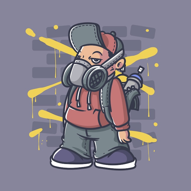 Graffiti jongen Premium Vector