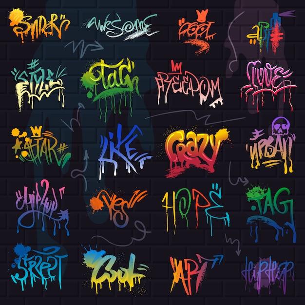 Graffiti vector graffito van penseelstreek belettering of grafische grunge typografie illustratie Premium Vector